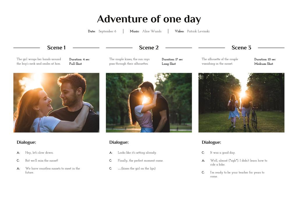 Happy Couple walking on Sunset Storyboard Design Template