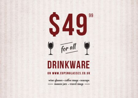 Plantilla de diseño de Drinkware Sale Offer Card
