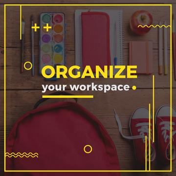 Organize your workspace poster for school child