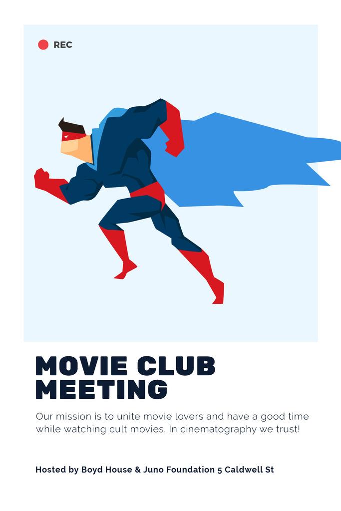 Movie Club Meeting Man in Superhero Costume — Créer un visuel