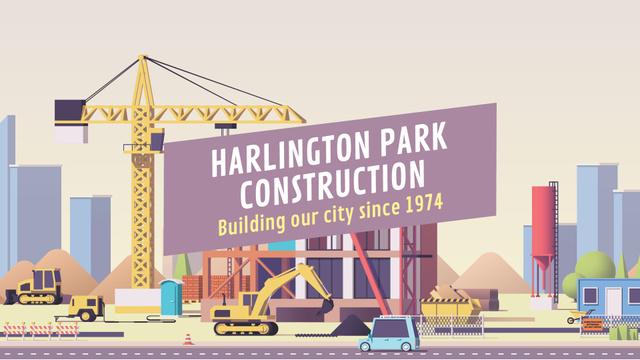 Template di design Real Estate Ad Crane on Construction Site Full HD video