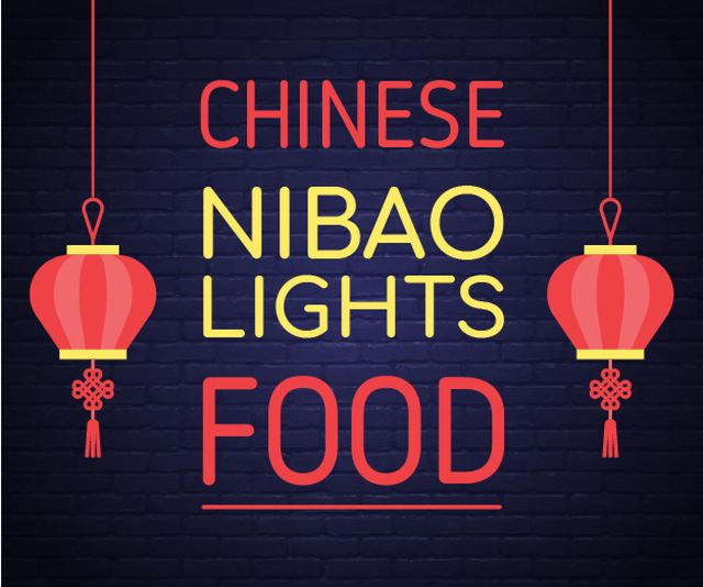 Restaurant Ad Chinese Red Lanterns Medium Rectangle – шаблон для дизайна