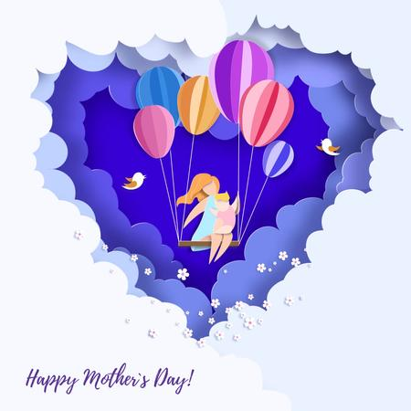 Mother and child swinging in the Сlouds on Mother's Day Animated Postデザインテンプレート