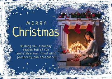 Merry Christmas Greeting Woman with Presents | Card Template