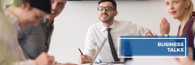 Successful Business Team at the Meeting Email header Design Template