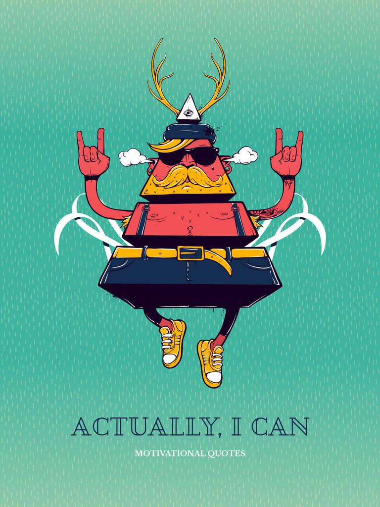 Inspirational Quote with Triangle Hipster Bizarre Character — Maak een ontwerp