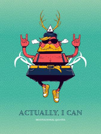 Inspirational Quote with Triangle Hipster Bizarre Character Poster US – шаблон для дизайну