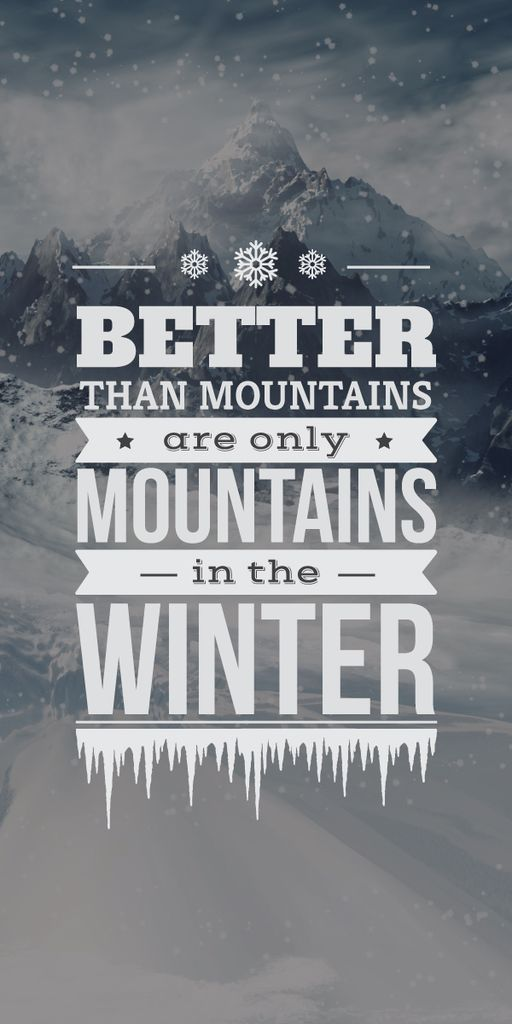 winter mountains poster with inspirational quote — Создать дизайн