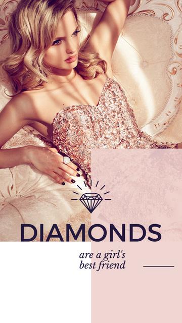 Plantilla de diseño de Jewelry Ad with Woman in shiny dress Instagram Story
