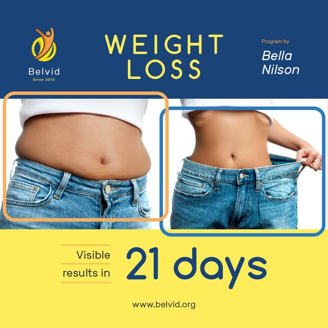 Weight Loss Program Ad with Before and After Photo Instagram Design Template