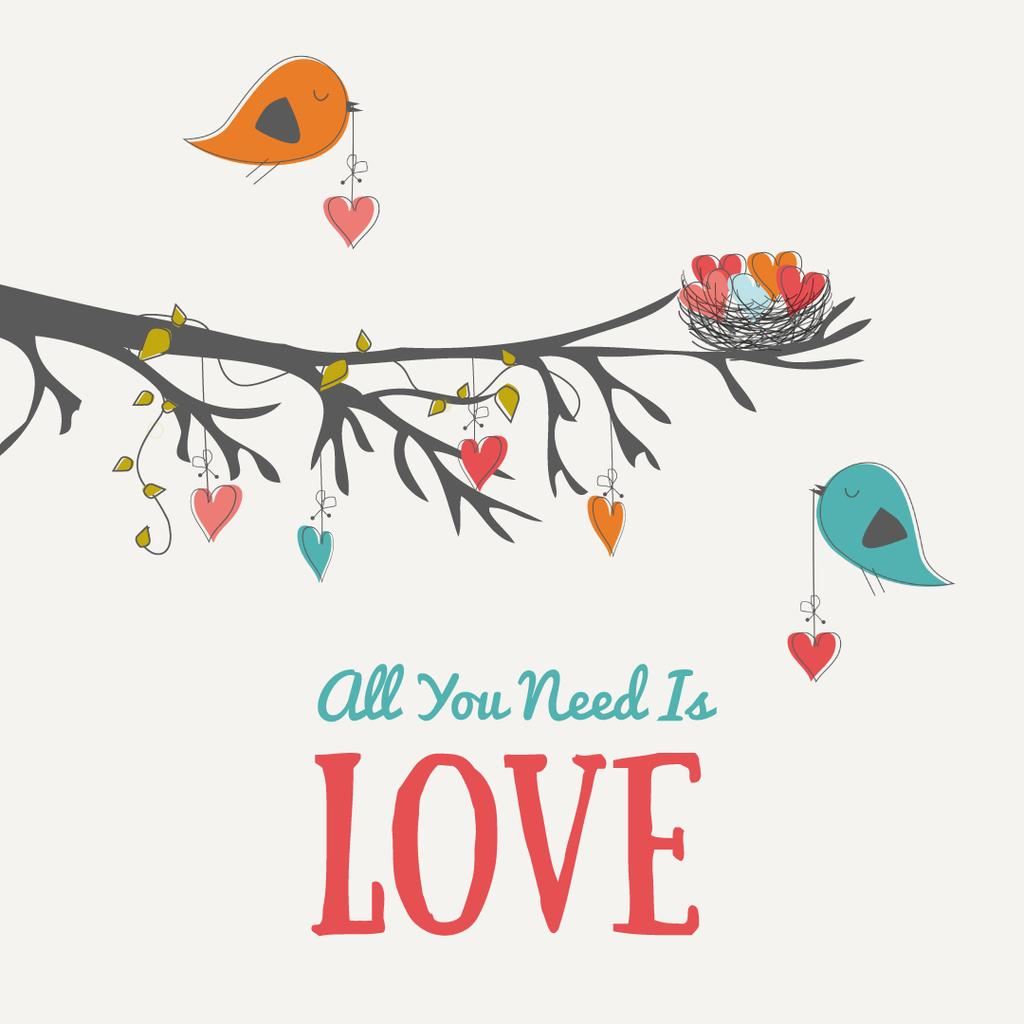 Birds Decorating Tree With Hearts – Stwórz projekt