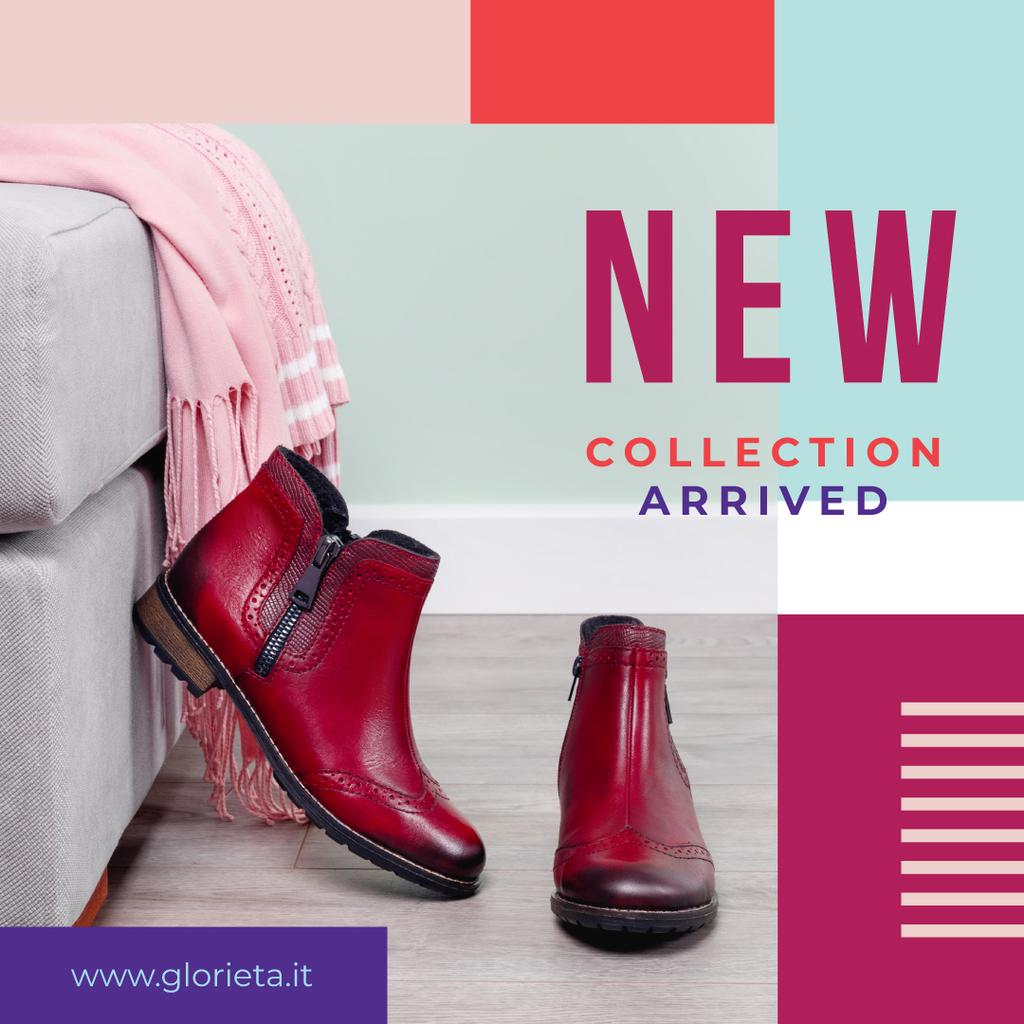 New Collection Ad with Red ankle boots — Modelo de projeto