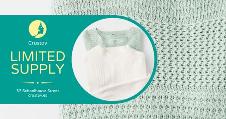 Szablon projektu Warm Knitted Sweaters in Blue Facebook AD