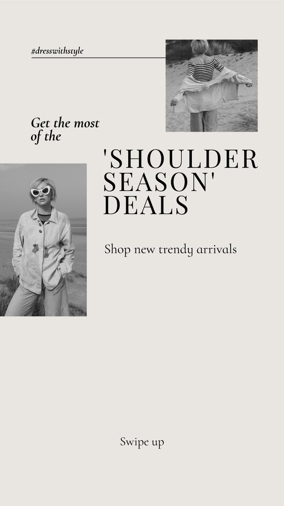 New trendy Arrivals Offer with Stylish Woman — ein Design erstellen