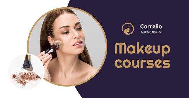 Plantilla de diseño de Makeup Courses Annoucement with Woman applying makeup Facebook AD