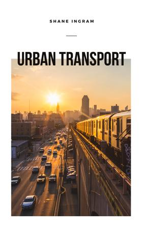 Urban Transport Traffic in Modern City Book Cover Design Template