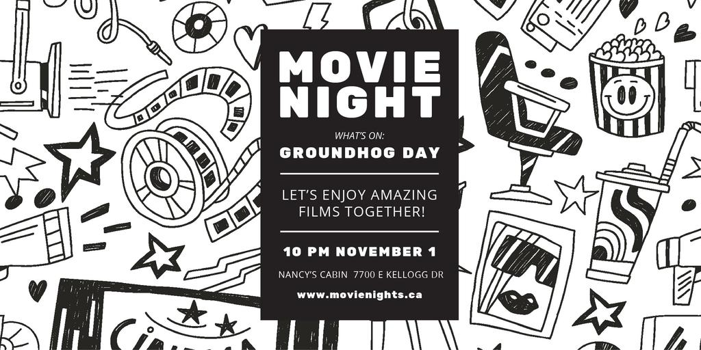 Movie Night Event Announcement with Arts Icons Pattern — Crear un diseño