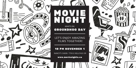 Modèle de visuel Movie Night Event Announcement with Arts Icons Pattern - Twitter