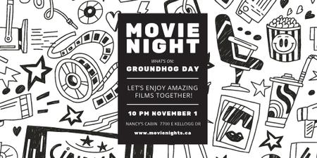 Movie Night Event Announcement with Arts Icons Pattern Twitter Modelo de Design