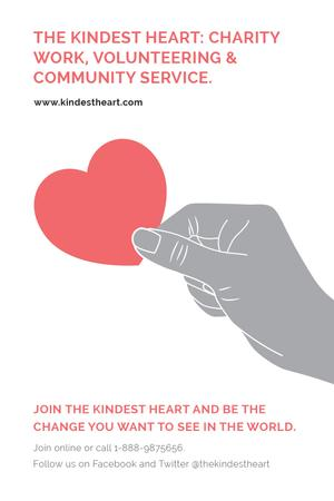 Ontwerpsjabloon van Tumblr van Charity event Hand holding Heart in Red