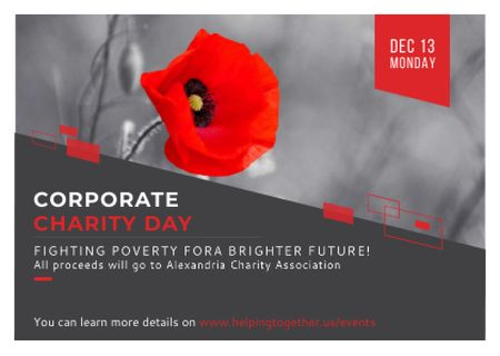 Corporate Charity Day announcement on red Poppy Postcard – шаблон для дизайну