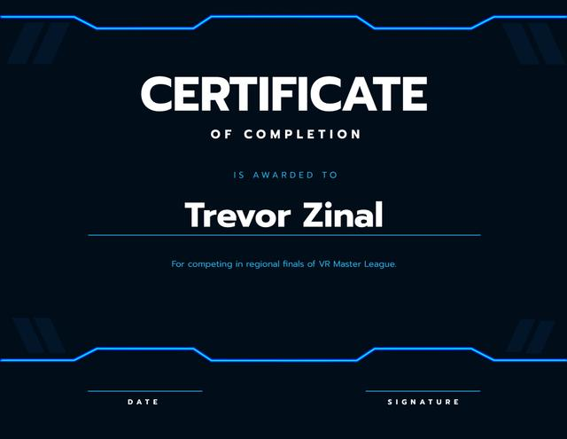 VR game Duel Completion confirmation Certificate Design Template