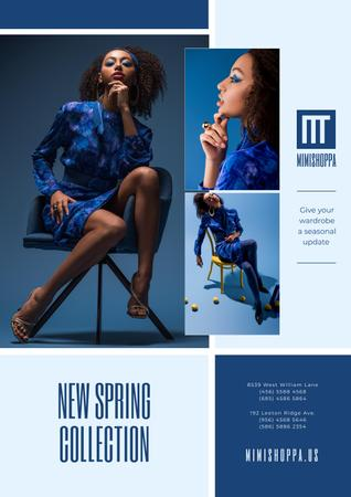 Fashion Collection Ad with Stylish Woman in Blue Poster Modelo de Design