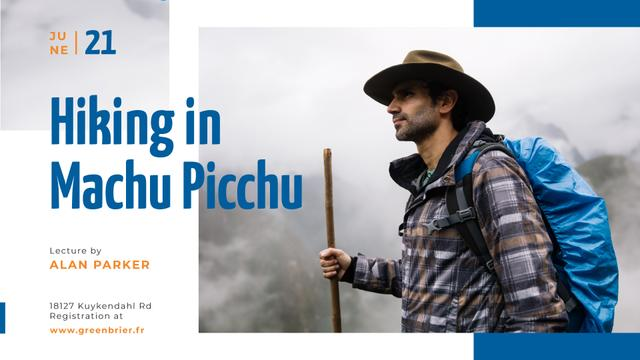 Hiking Tour invitation Backpacker in Mountains FB event cover Design Template