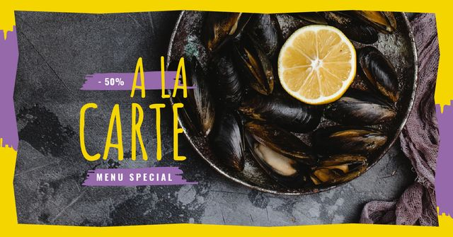 Mussels served with Lemon Facebook AD Design Template