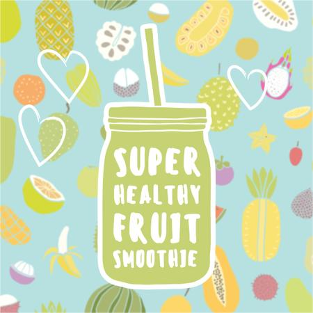 Fruit smoothie illustration Instagram Design Template