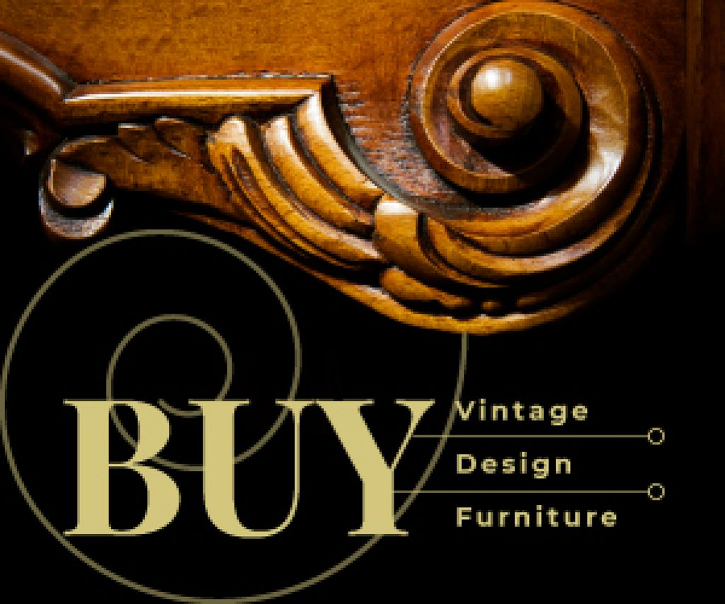 Antique Wooden Furniture Detail | Medium Rectangle Template — Створити дизайн