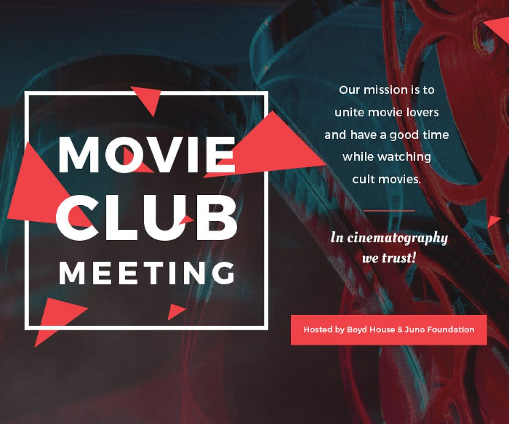 Movie Club Invitation with Vintage Film Projector —デザインを作成する