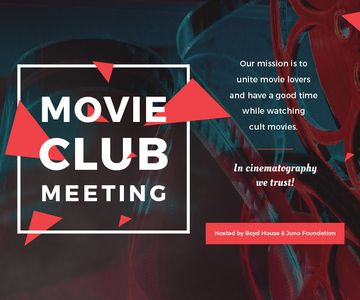 Movie Club Invitation with Vintage Film Projector | Large Rectangle Template