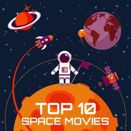 Space movies with Astronaut Instagramデザインテンプレート