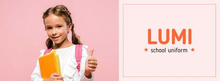Plantilla de diseño de Uniform Offer smiling Schoolgirl with Books Facebook cover