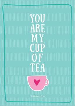 Love Quote Cup of Tea in Blue | Poster Template