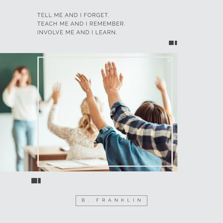 Education Program Students in Classroom Instagram Design Template
