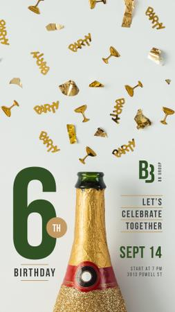 Birthday Greeting Champagne Bottle and Confetti Instagram Story Tasarım Şablonu