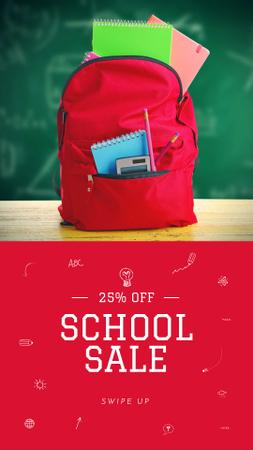 Back to School stationary in backpack Instagram Story Design Template