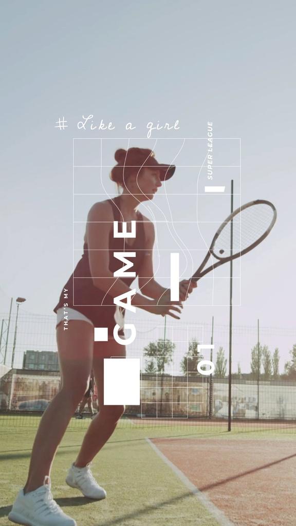 Young Woman Playing Tennis — Modelo de projeto