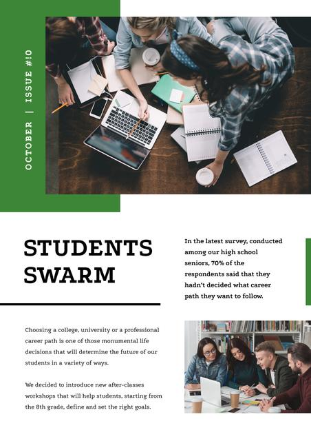 Group of Students working on laptops Newsletter Design Template
