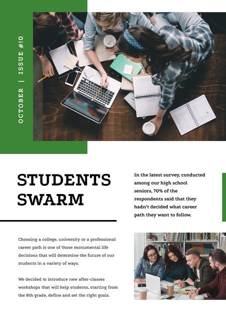 Group of Students working on laptops Newsletter Modelo de Design