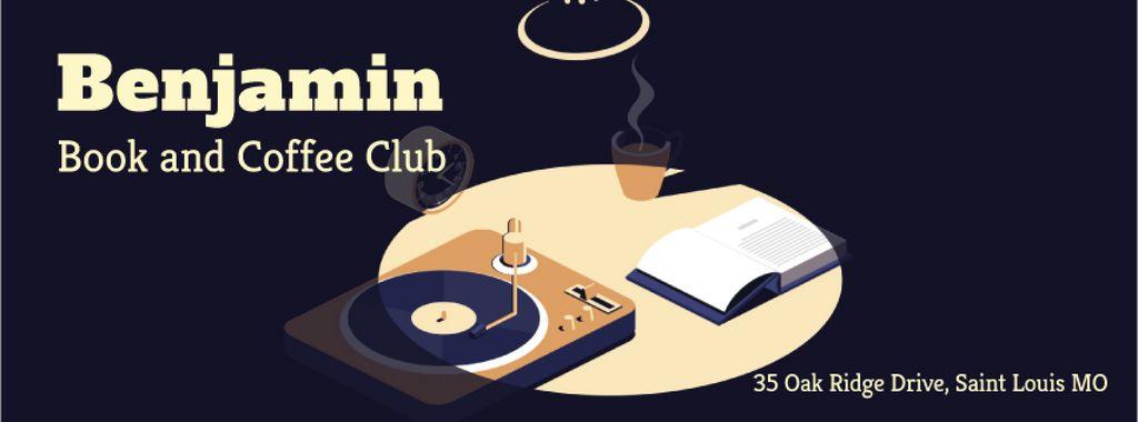 Vinyl player and book on table — Создать дизайн