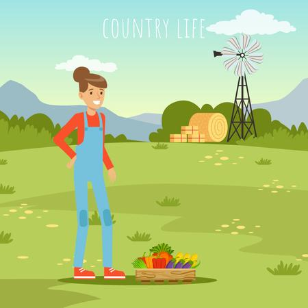 Woman farmer with vegetables harvest Animated Post Modelo de Design