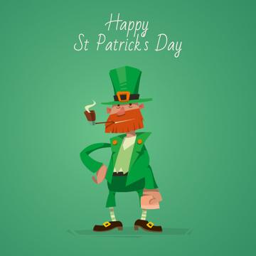 Smoking Saint Patrick's leprechaun