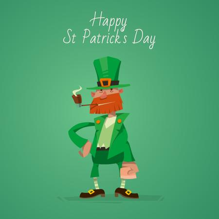 Smoking Saint Patrick's leprechaun Animated Post Modelo de Design