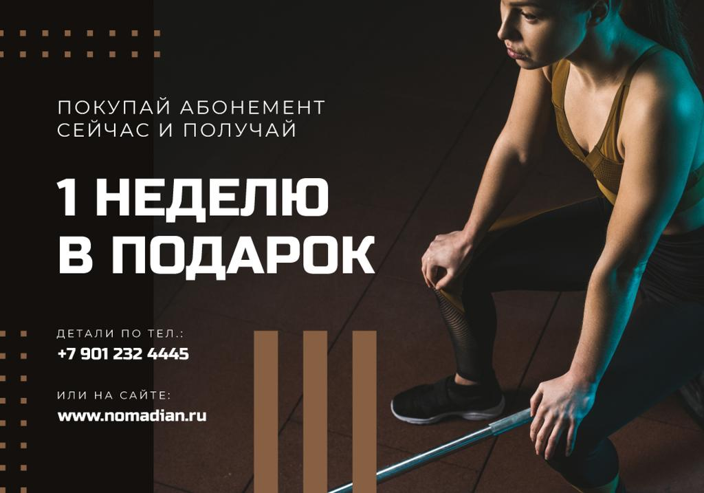Gym Membership Offer with Athletic girl — ein Design erstellen