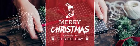 Template di design Christmas Greeting with Woman wrapping Gift Email header