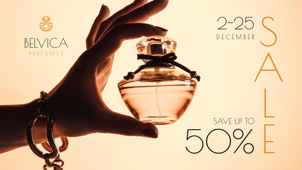 Sale Offer with Woman Holding Perfume Bottle — Создать дизайн