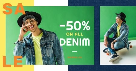 Denim Sale Stylish Man in Hat in Green Facebook AD Modelo de Design